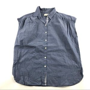 Loft Ann Taylor Relaxed Button Front Top Blue